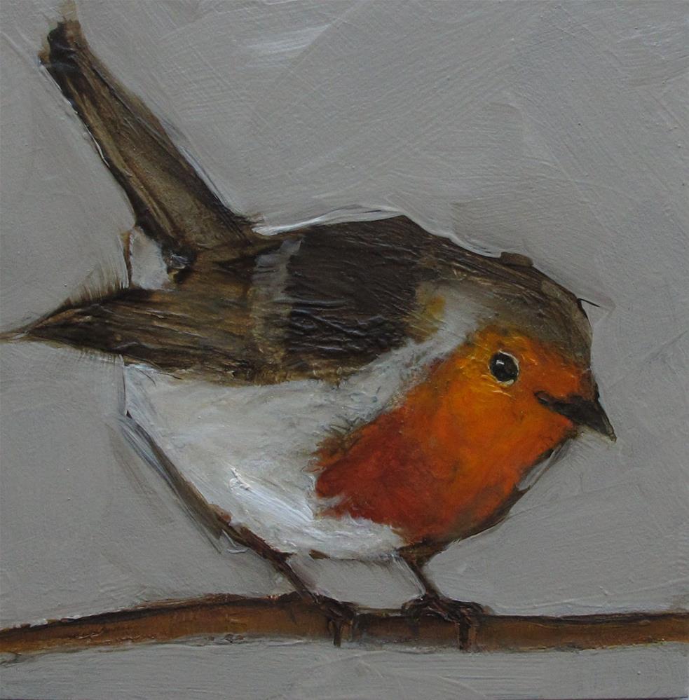 """RED ROBIN BIRD Original FOLK WHIMSICAL Art Colette Davis Art Painting OIL"" original fine art by Colette Davis"