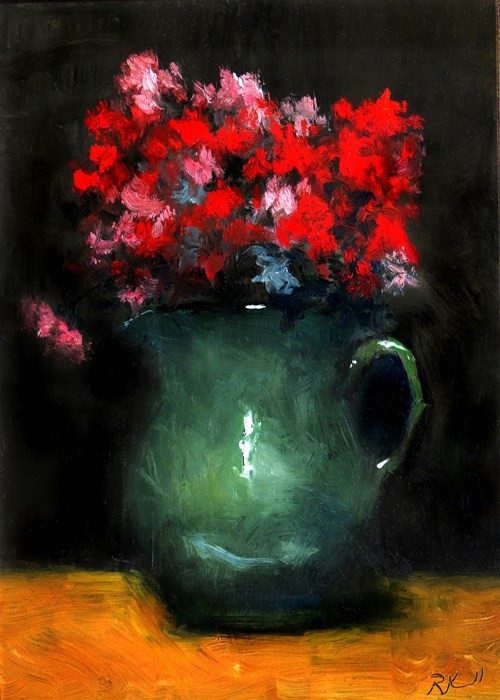 """Green Vase with Flowers"" original fine art by Bob Kimball"