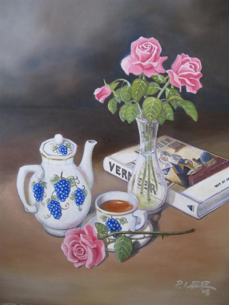 """Teapot and Flowers"" original fine art by Peter Lee"