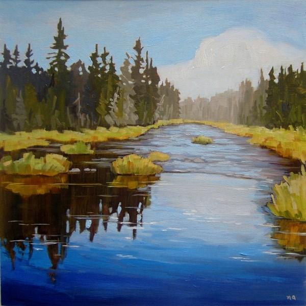 """The Riffle, Waskesiu River"" original fine art by Nicki Ault"