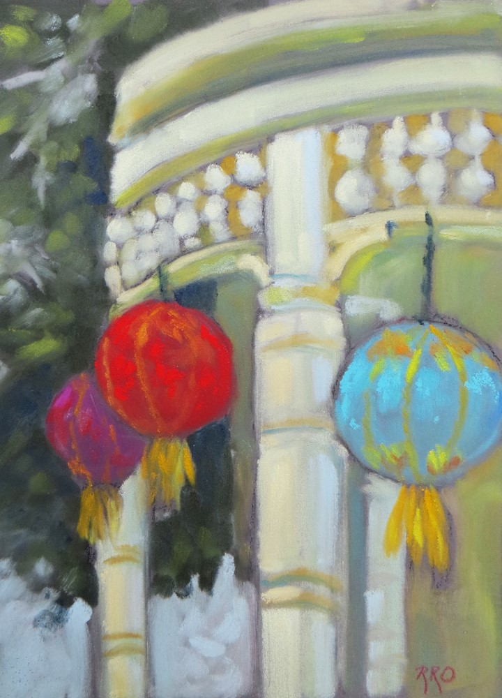 """Porch Lanterns"" original fine art by Rhett Regina Owings"