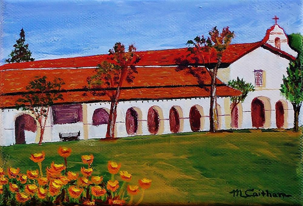 """""""Mission San Juan Bautista and California Poppies"""" original fine art by Mike Caitham"""