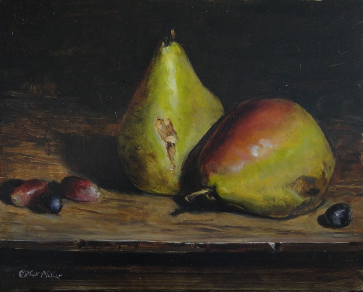 """""""Pears and Grapes"""" original fine art by Kirk Miller"""