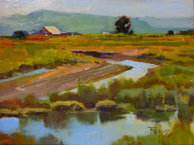 """""""Indian Slough LaConner, plein air, oil , landscape painting by Robin Weiss"""" original fine art by Robin Weiss"""