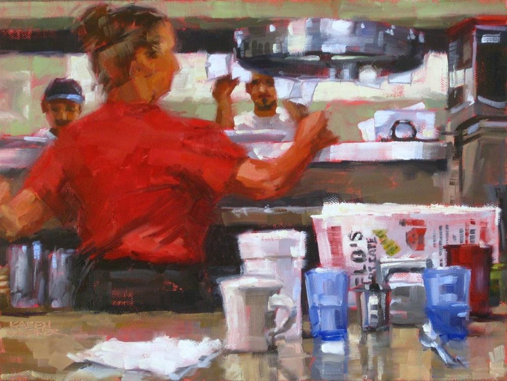 """Breakfast At Flo's"" original fine art by Karen Werner"