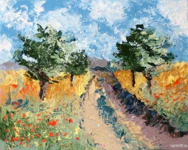 """""""Mark Webster - Foothill Road Palette Knife Oil Painting"""" original fine art by Mark Webster"""