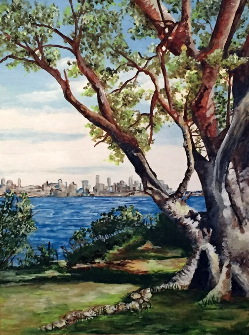 """Sydney Harbor National Park"" original fine art by Nan Johnson"