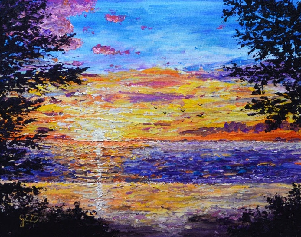 """Washington Beach Sunset"" original fine art by Gloria Ester"