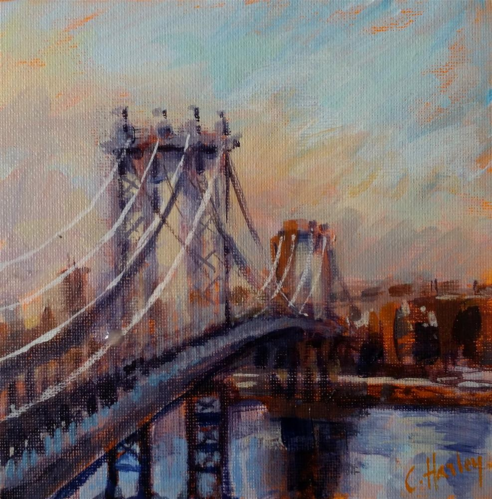 """Georges Washington bridge"" original fine art by Catherine Harley"