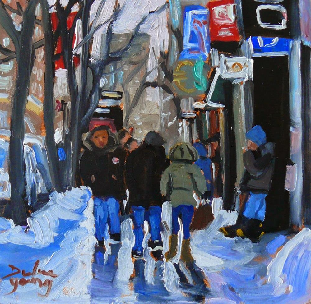 """823 Montreal Winter Scene, Ste-Catherine, 6x6 oil"" original fine art by Darlene Young"