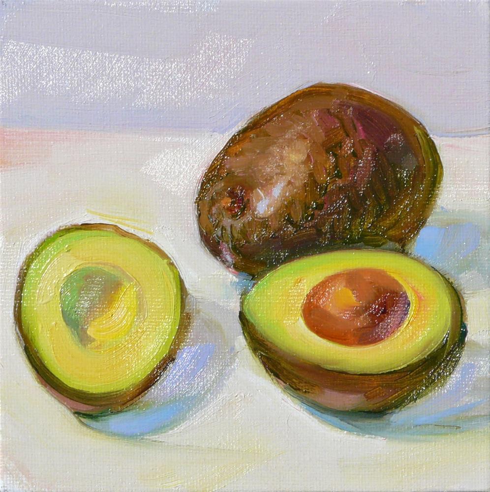 """Two Avocados,still life,oil on canvas,6x6,price$200"" original fine art by Joy Olney"
