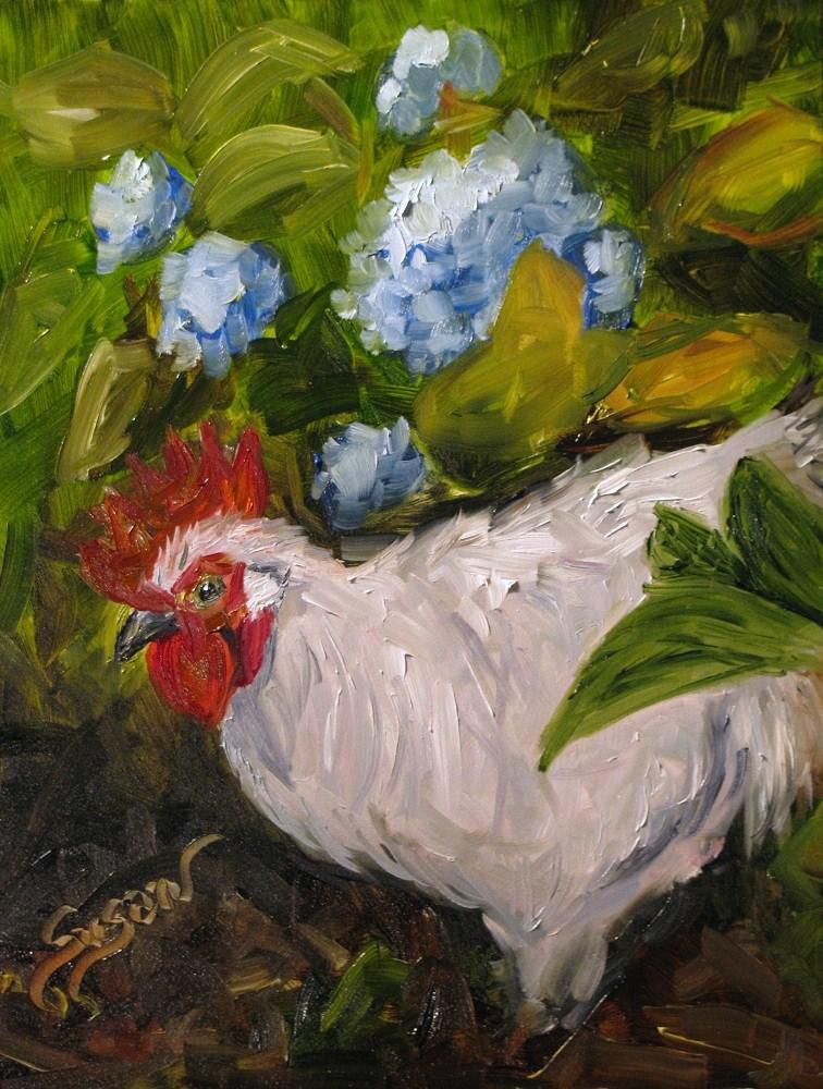 """Among the Hydrangeas"" original fine art by Susan Elizabeth Jones"