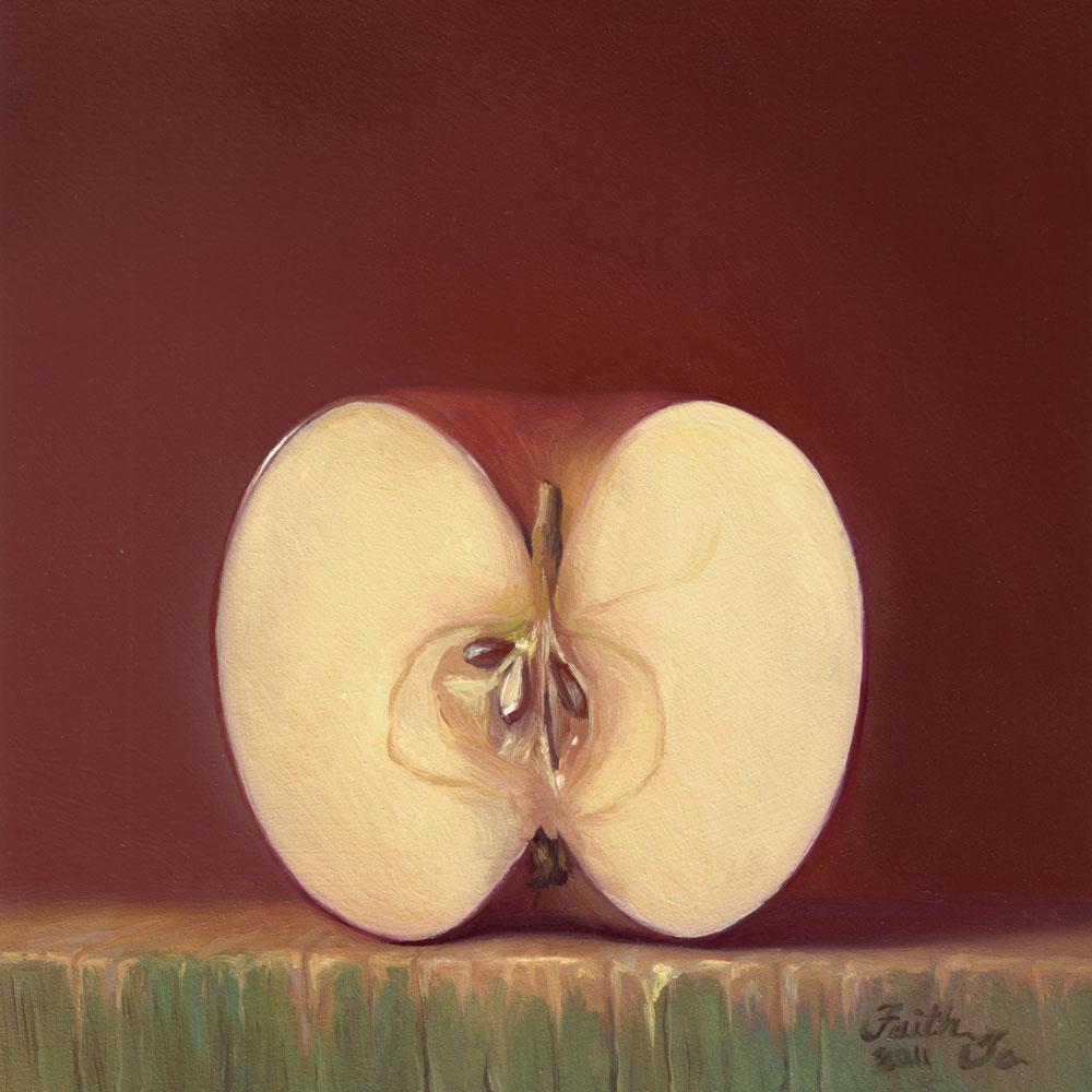 """Apple Half"" original fine art by Faith Te"