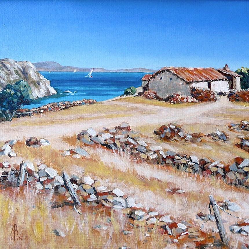 """Old farm, Lemnos, Greece"" original fine art by Alix Baker PCAFAS AUA"