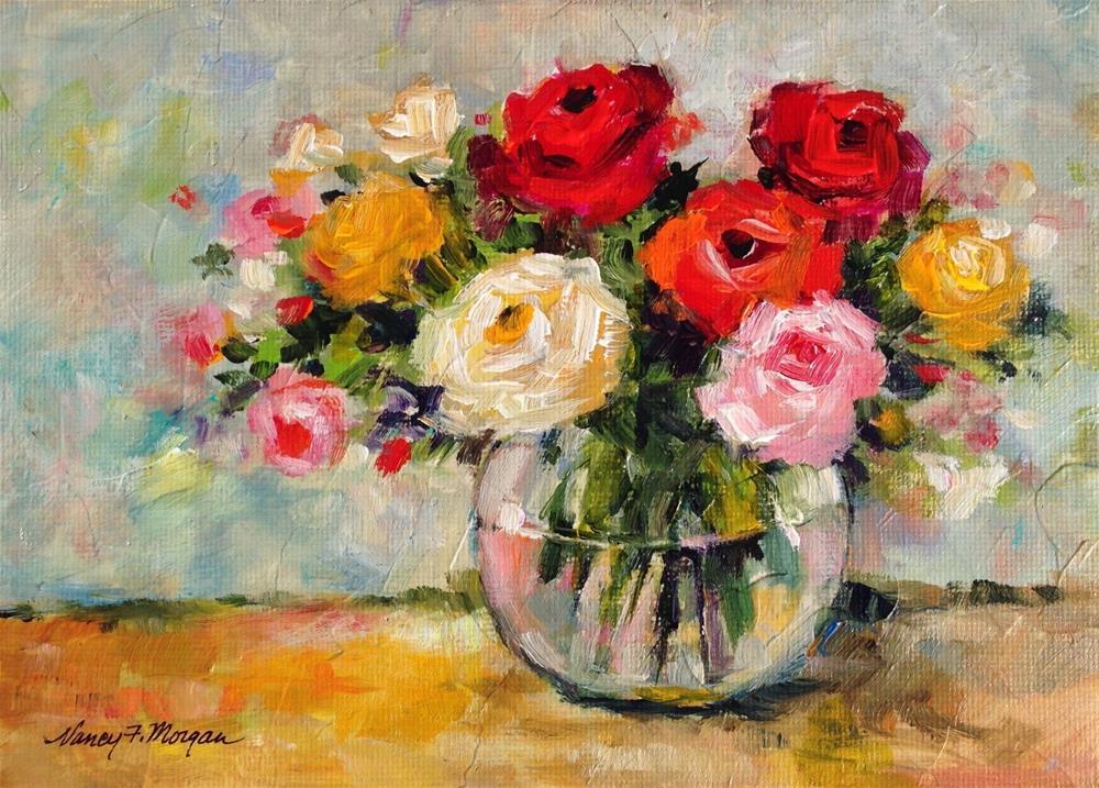 """""""Mixed Roses"""" original fine art by Nancy F. Morgan"""