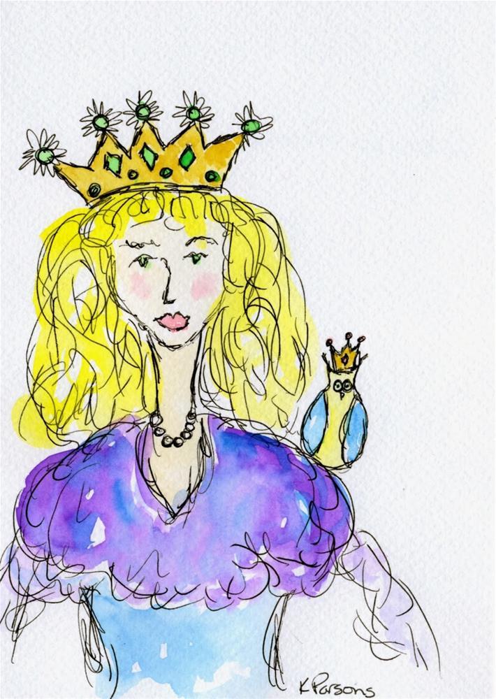 """A Princess and an Owl"" original fine art by Kali Parsons"