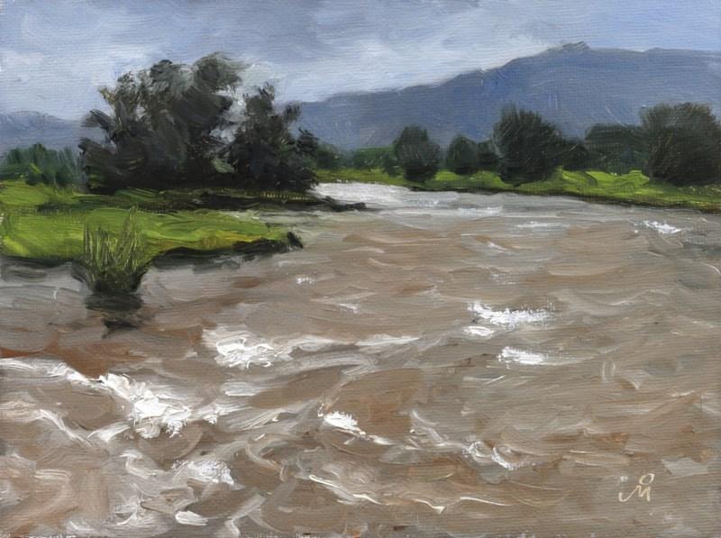 """Swollen River At Shivli"" original fine art by Mandar Marathe"