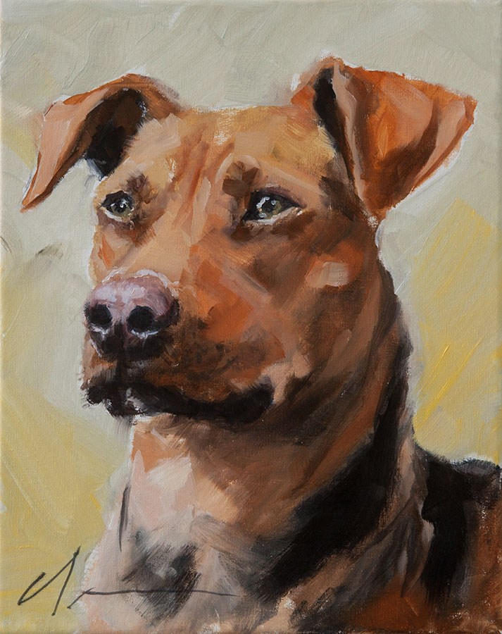 """PAINT MY DOG  - Fisher"" original fine art by Clair Hartmann"