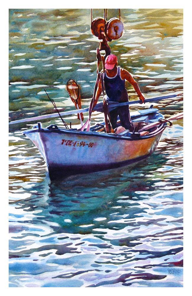 """Hoisting the boat."" original fine art by Graham Berry"