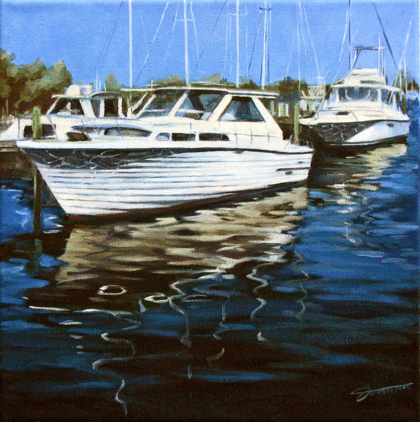 """Reflections By The Dock"" original fine art by Joanna Bingham"
