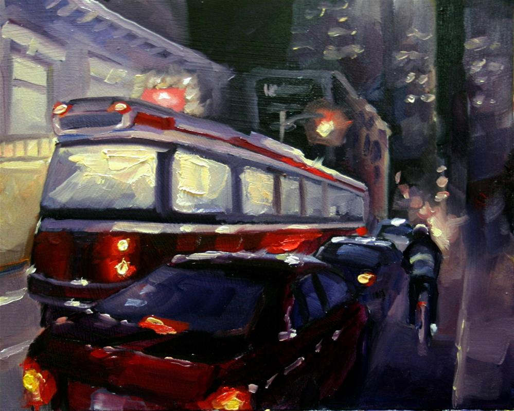"""Toronto Traffic in Reds, King Street"" original fine art by Catherine Jeffrey"