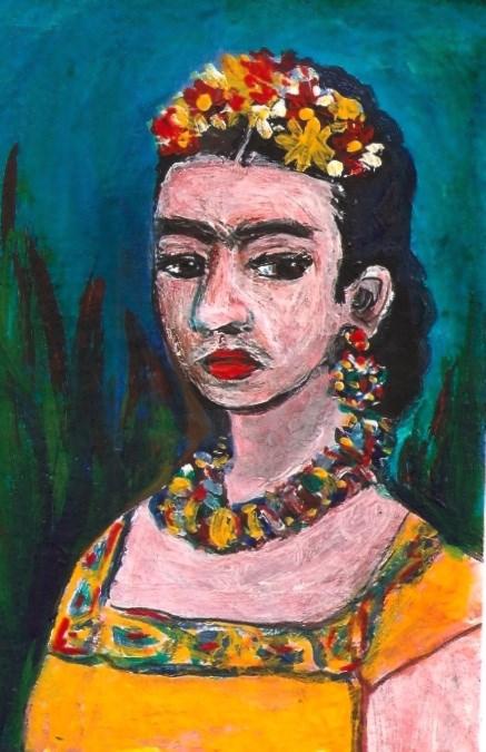 """ACEO Frida Kahlo Portrait in her style Acrylic Miniature SFA Penny Lee StewArt"" original fine art by Penny Lee StewArt"