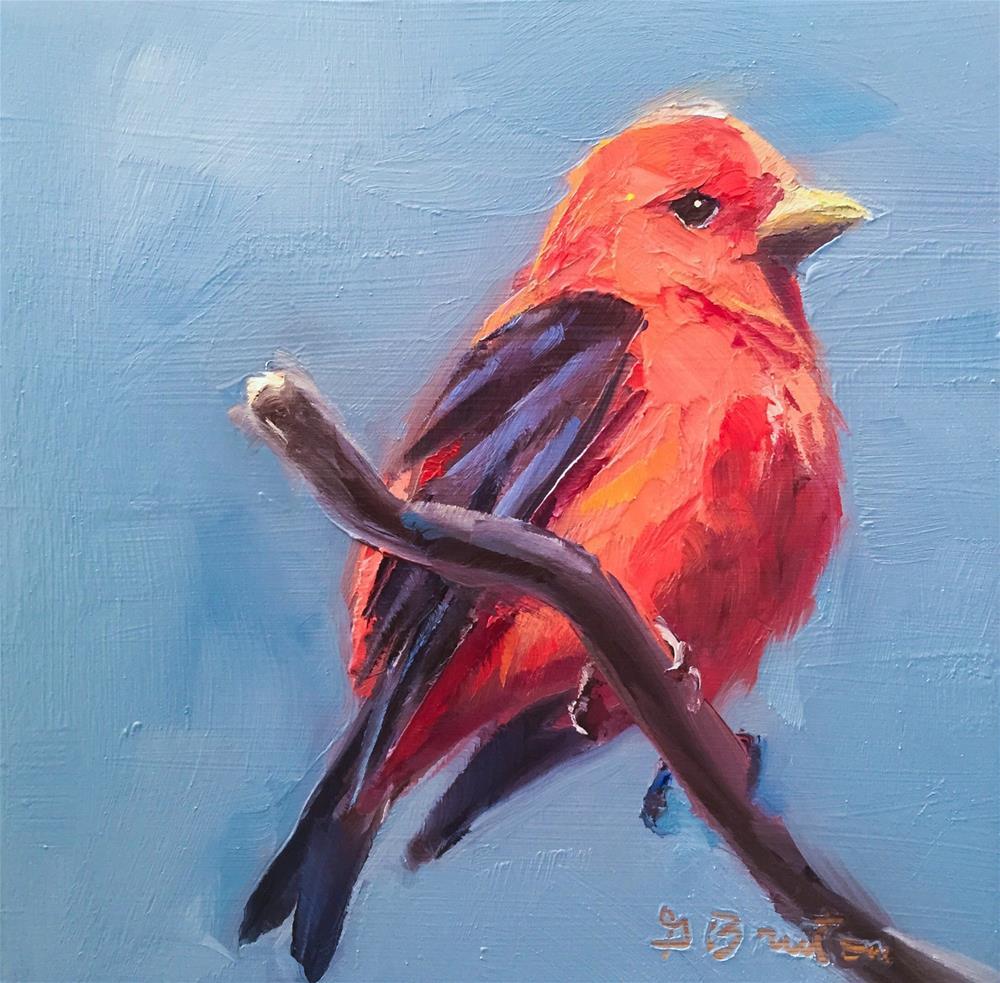 """Scarlet Tanager"" original fine art by Gary Bruton"