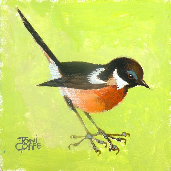 """""""Another Stonechat"""" original fine art by Toni Goffe"""