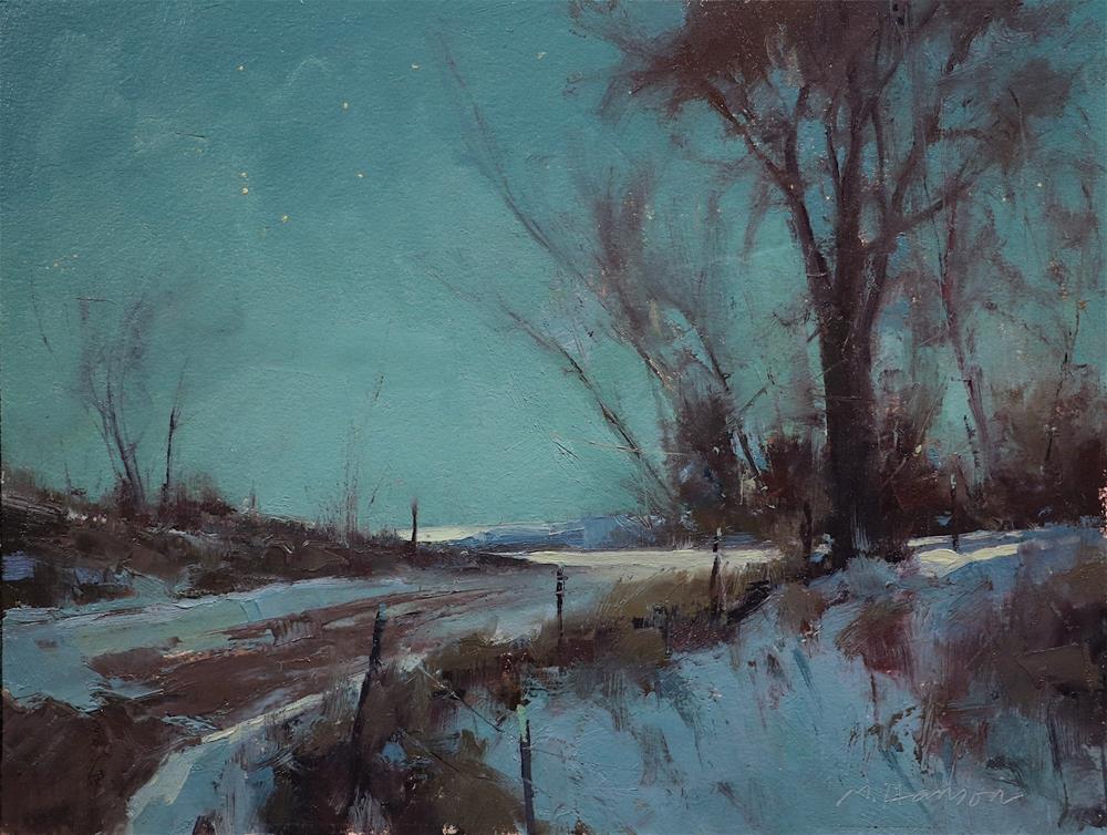 """Moonlight Bend Nocturne Study"" original fine art by Marc Hanson"