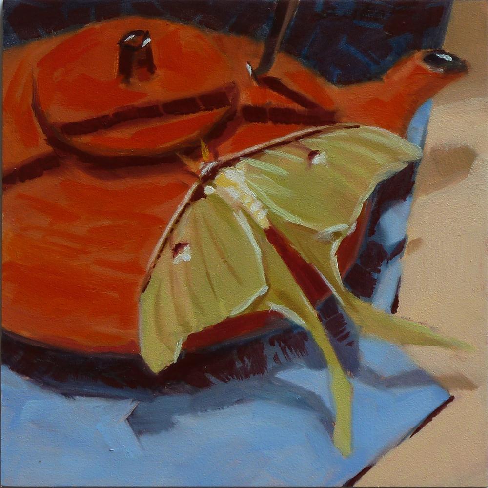 """Luna Moth & Iron Tea Pot"" original fine art by Ron Ferkol"