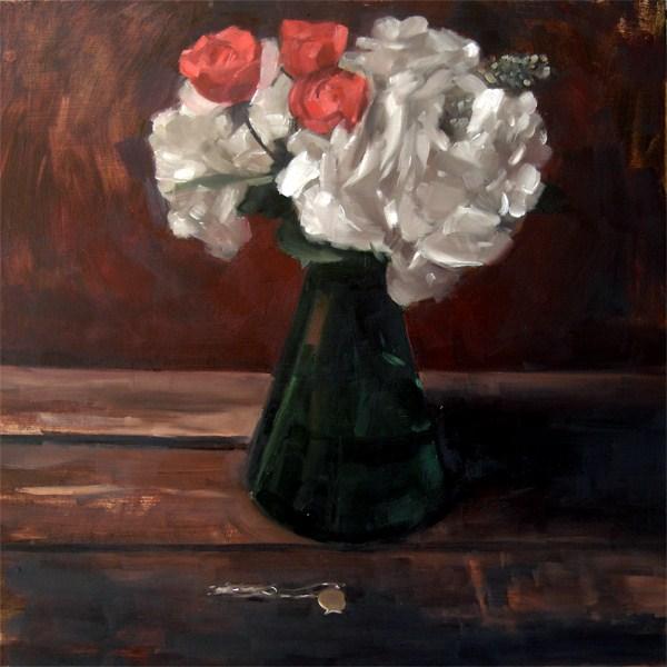 """Roses and Hydrangeas (no.54)"" original fine art by Michael William"