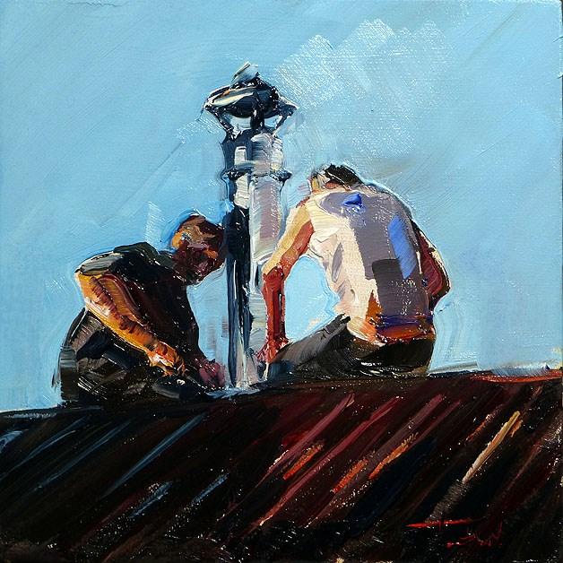 """""""two roof bird"""" original fine art by Jurij Frey"""