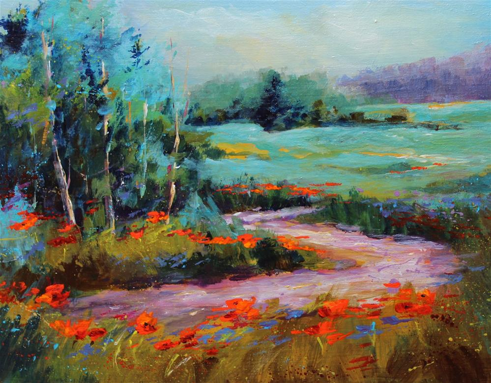 """Wildflower floral flower landscape painting"" original fine art by Alice Harpel"