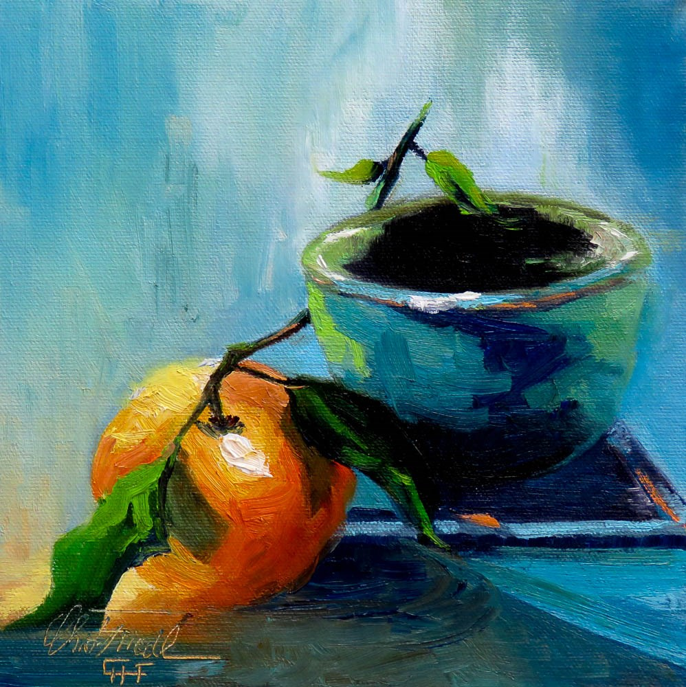 """Tangerine and Blue Cup"" original fine art by Christa Friedl"