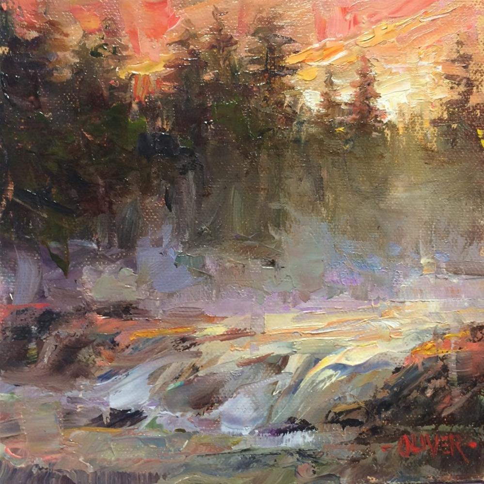 """Sunrise On The Firehold River - Yellowstone"" original fine art by Julie Ford Oliver"