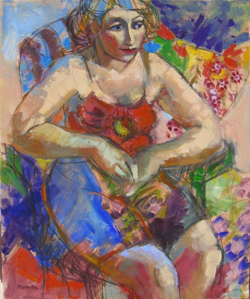 """In The Garden, figurative woman, female figuration, women art, contemporary figure painter, figure s"" original fine art by Marie Fox"