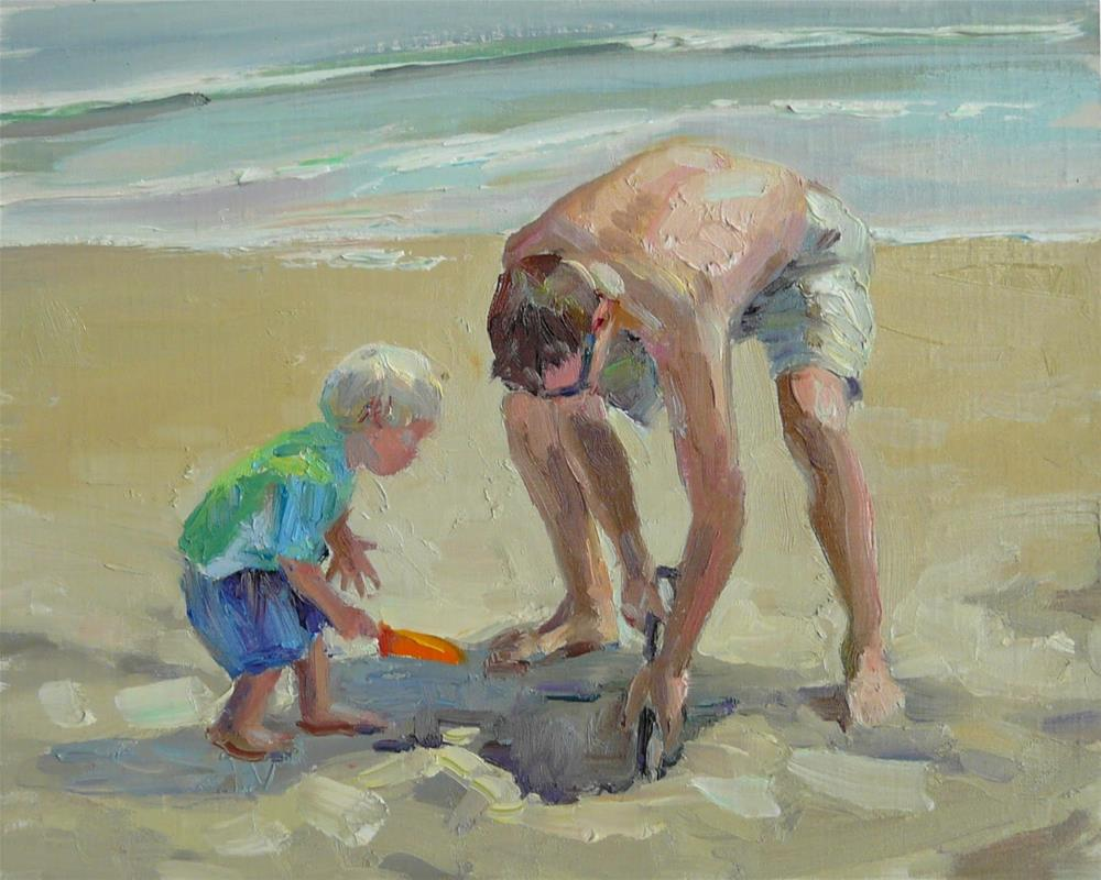 """Father and Son at the Beach,figures,oil on linen,8x10,price$375"" original fine art by Joy Olney"