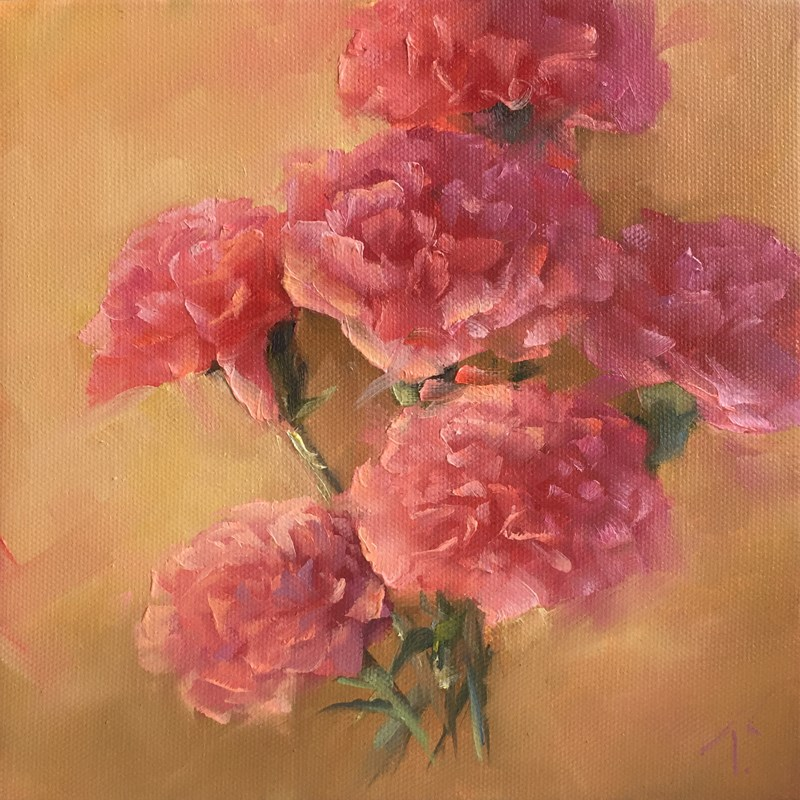 """Carnation Study on Camel"" original fine art by Lori Twiggs"