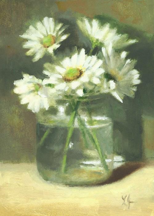 """Mums Dressed in White"" original fine art by Linda Jacobus"