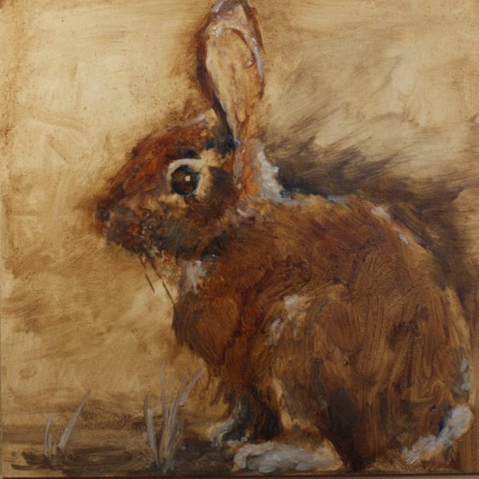"""Wipe Out Rabbit"" original fine art by Sue Churchgrant"