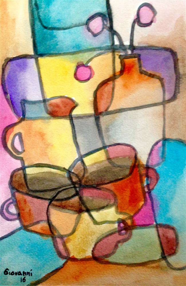 """""""Coffee cups, kettle, and flowers (still life)"""" original fine art by Giovanni Antunez"""