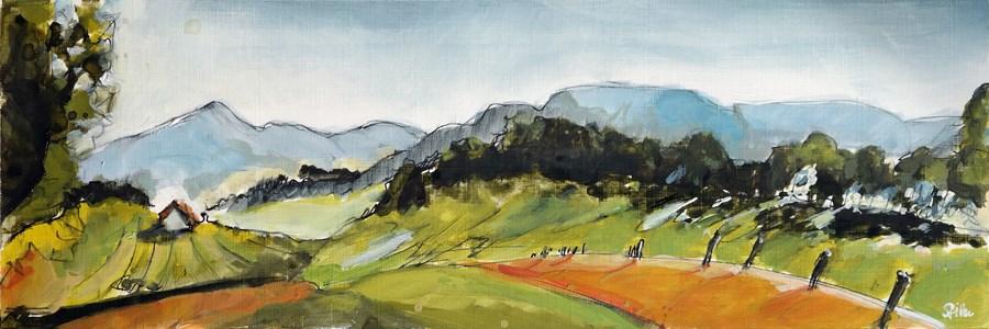"""2460 Acrylic Landscape Sketch I"" original fine art by Dietmar Stiller"