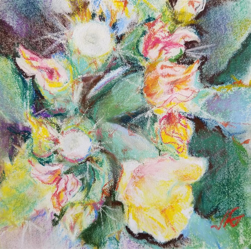 """Opuntia Blooms"" original fine art by Jean Krueger"
