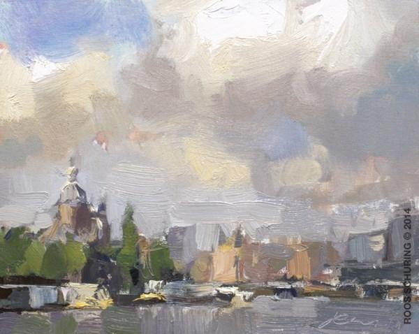 """CA04-2014 Schuring Cityscape Amsterdam"" original fine art by Roos Schuring"