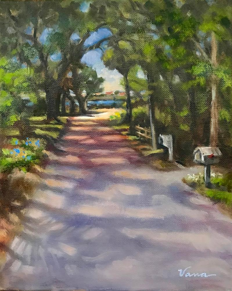 """Shady Path to the River"" original fine art by Vana Meyers"