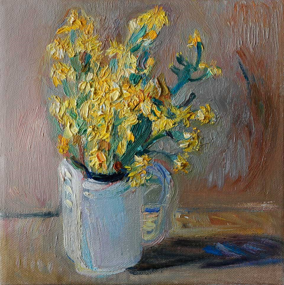 """""""Yellow Wildflowers in a White Cup"""" original fine art by Anna Fine Art"""