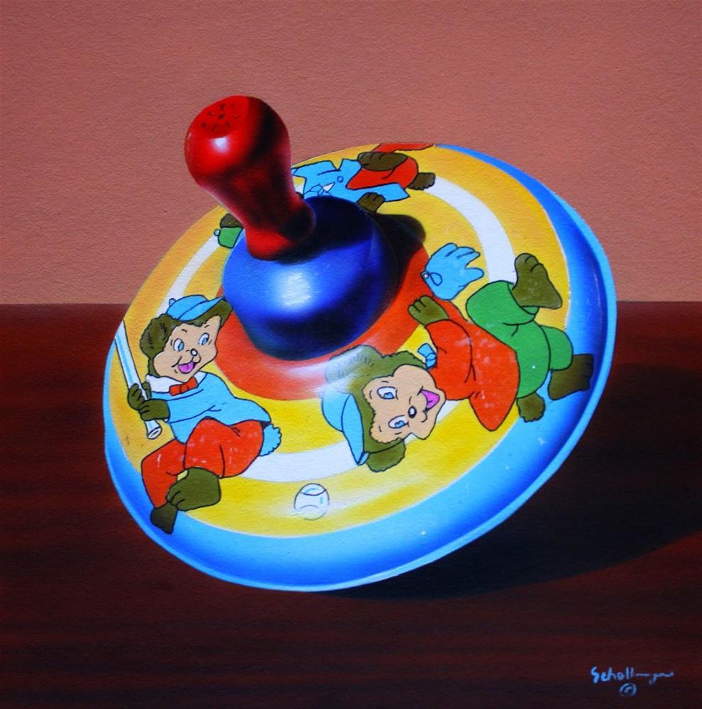 """Bear Cub Baseball Spinner"" original fine art by Fred Schollmeyer"
