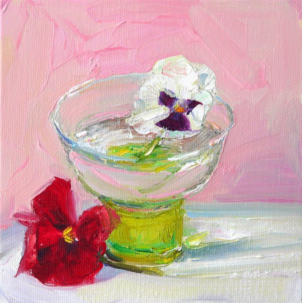 """Pansy in a Sherbet Glass,still life,oil on canvas,6x6,price$200"" original fine art by Joy Olney"
