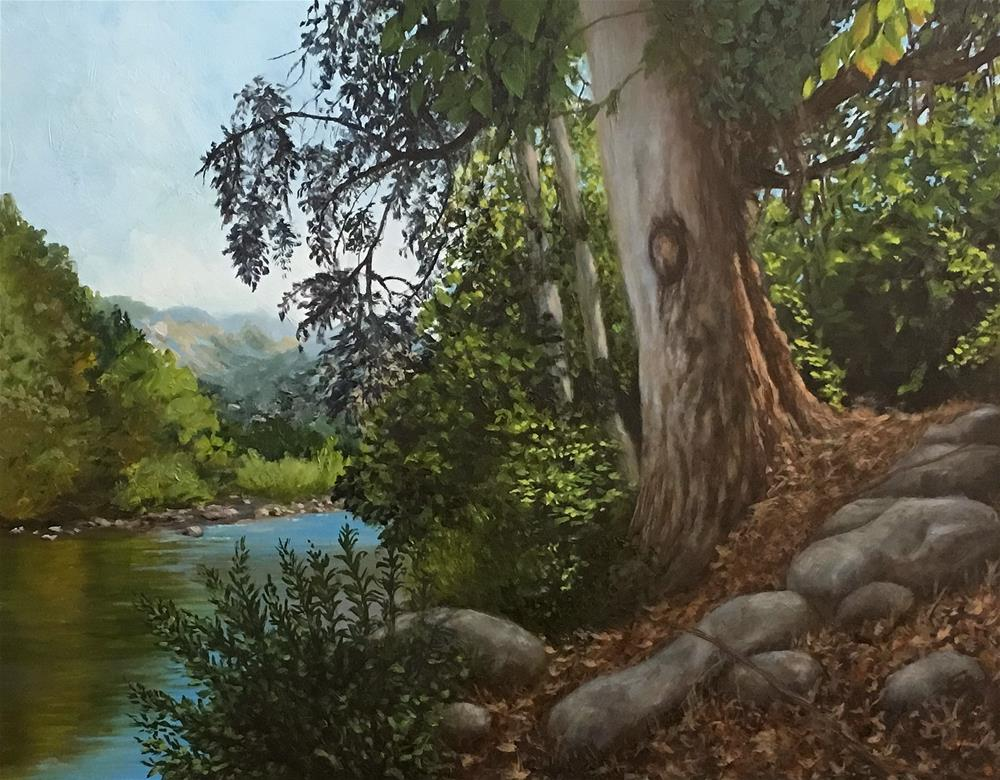 """Serenity Tree, Framed"" original fine art by Elizabeth Elgin"