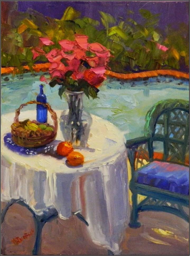 """Poolside, 18x24, oil on canvas, paintings of pools, fruit , flowers, pink roses, Florida gardens"" original fine art by Maryanne Jacobsen"